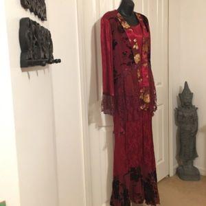 3 piece velvet satin lace skirt jacket top